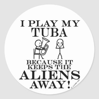 Keeps Aliens Away Tuba Classic Round Sticker