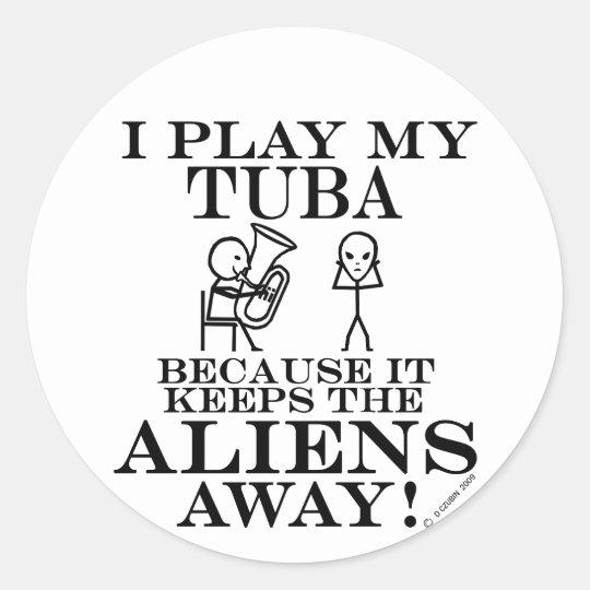 Keeps Aliens Away Tuba Classic Round Sticker