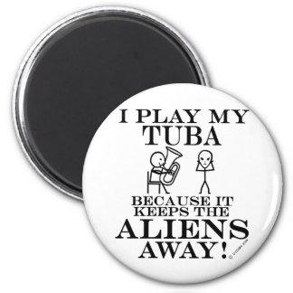 Keeps Aliens Away Tuba Fridge Magnets