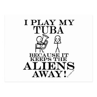 Keeps Aliens Away Tuba Postcard