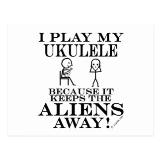 Keeps Aliens Away Ukulele Postcard