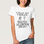 Keeps Aliens Away Violin T-shirt