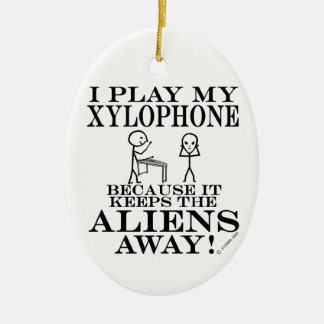 Keeps Aliens Away Xylophone Double-Sided Oval Ceramic Christmas Ornament
