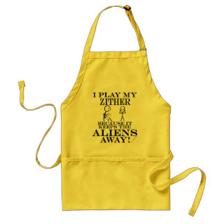 Keeps Aliens Away Zither Adult Apron