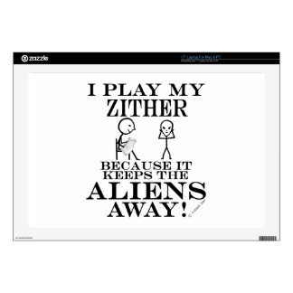 Keeps Aliens Away Zither Decal For Laptop