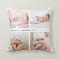 Keepsake Birth Announcement Nursery Pillow