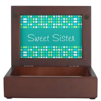 Keepsake Box for a sister, colorful circles.