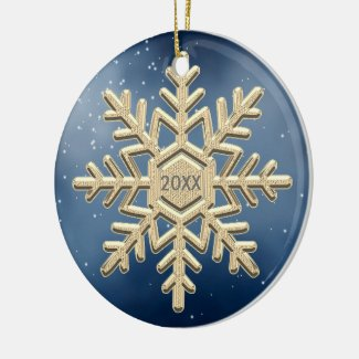 Keepsake Christmas Snowflake Dated Ornament. Ceramic Ornament