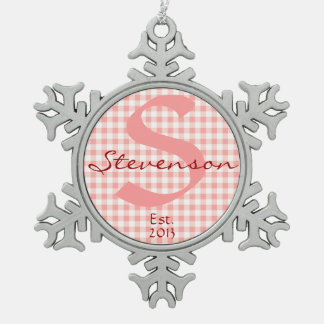 Keepsake Ornament Name & Year, Pink White Gingham