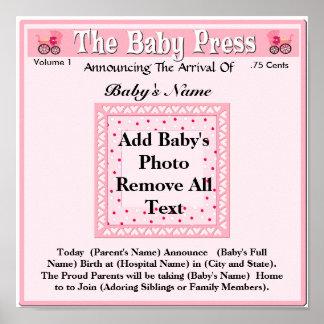 Keepsake Photo Birth Announcement Poster
