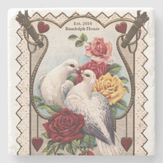 Keepsake Vintage Lovebirds Newlywed Personalized Stone Coaster