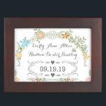 "Keepsake Wedding Date Anniversary Box<br><div class=""desc"">Vintage Garland Ranunculus Rose and Daisy Keepsake Wedding Date Anniversary Box</div>"