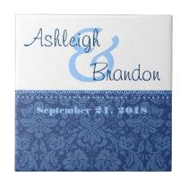 Keepsake Wedding Favor Denim Blue Damask Tile