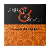 Keepsake Wedding Favor Orange and BlackDamask Tile