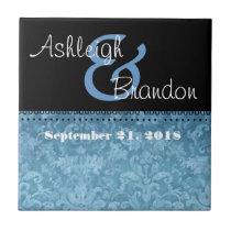 Keepsake Wedding Favor Powder Blue Damask Tile