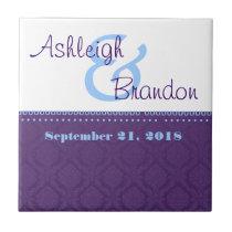 Keepsake Wedding Favor Purple Blue Damask Tile
