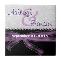 Keepsake Wedding Favor Purple Silver Black Tile
