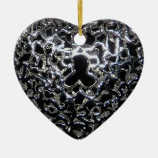 Keepsake Wedding Momento Intricate Metallic Heart Ceramic Ornament
