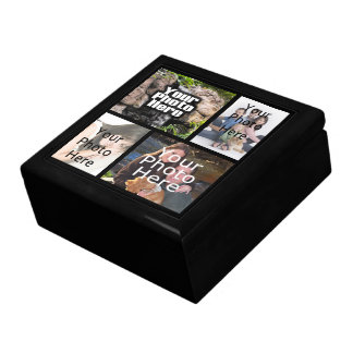 Keepsake Wood Jewelry/Valet Box, 4 Photo Collage Jewelry Box