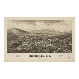 Keeseville New York 1887 Antique Panoramic Map Posters