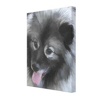 Keeshond Bailey Painting - Cute Original Dog Art Canvas Print