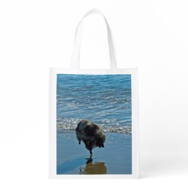 Beach Themed Keeshond Ballet Grocery Bag
