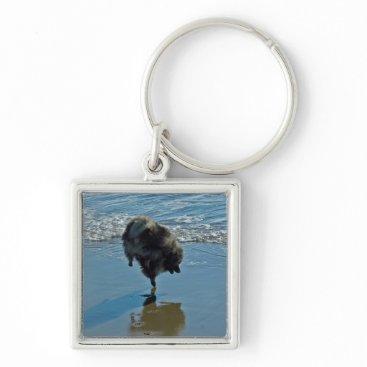 Beach Themed Keeshond Ballet Keychain