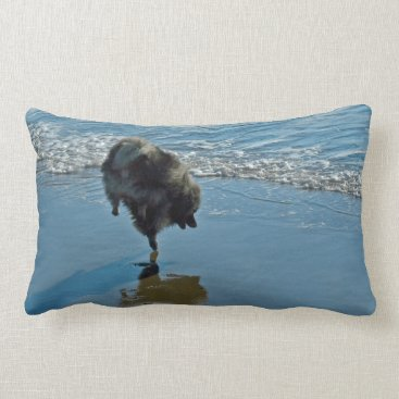 Beach Themed Keeshond Ballet Lumbar Pillow