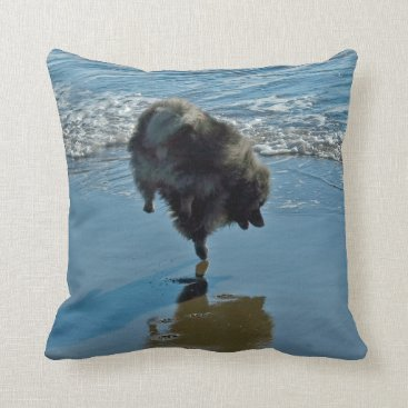 Beach Themed Keeshond Ballet Throw Pillow