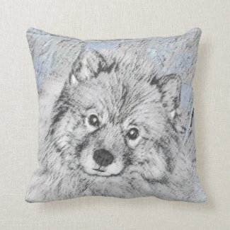 Keeshond (Beth) Throw Pillow