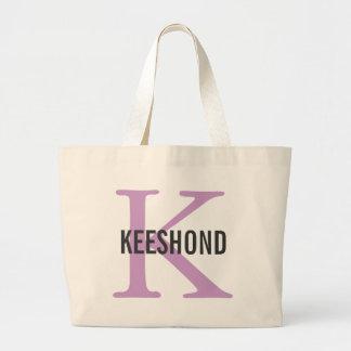 Keeshond Breed Monogram Design Canvas Bag
