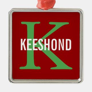 Keeshond Breed Monogram Design Metal Ornament