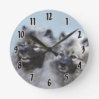 Keeshond Brothers Painting - Original Dog Art Round Clock