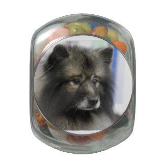 Keeshond Glass Candy Jar