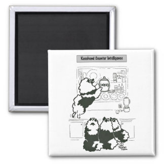 Keeshond Counter Intelligence 2 Inch Square Magnet