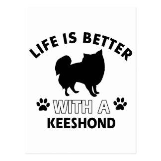 Keeshond dog breed designs postcard