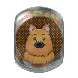 Keeshond Dog Cartoon Paws Glass Candy Jars