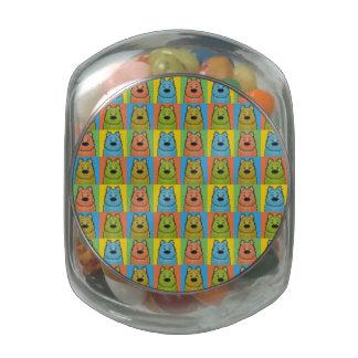 Keeshond Dog Cartoon Pop-Art Jelly Belly Candy Jar