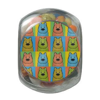 Keeshond Dog Cartoon Pop-Art Glass Jars
