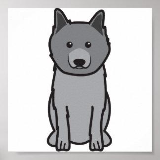 Keeshond Dog Cartoon Print