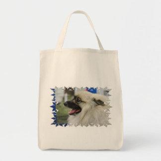 Keeshond Dog  Grocery Tote Bag
