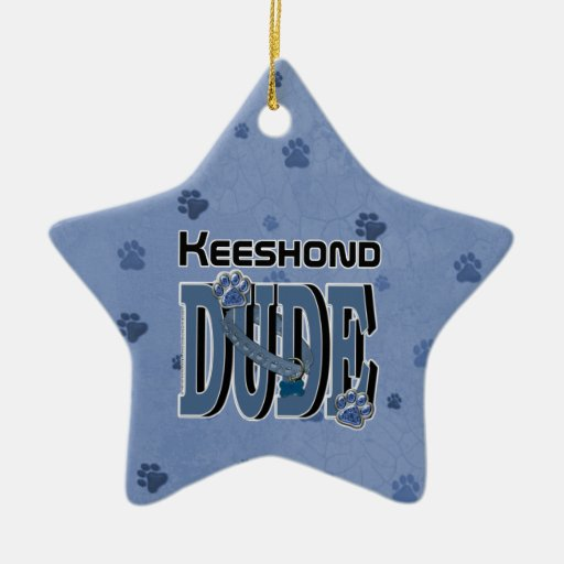Keeshond DUDE Double-Sided Star Ceramic Christmas Ornament