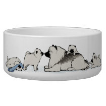 Keeshond Family with Blue Sock Bowl