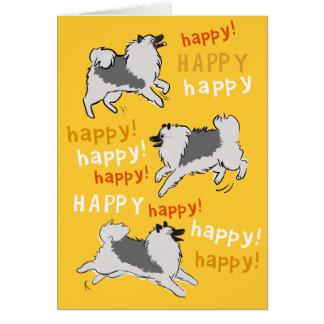 Keeshond feliz feliz tarjeta pequeña