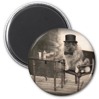Keeshond Gentleman's Afternoon 2 Inch Round Magnet