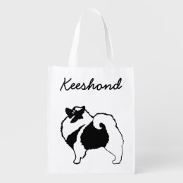 Keeshond Graphics  - Cute Original Dog Art Grocery Bag