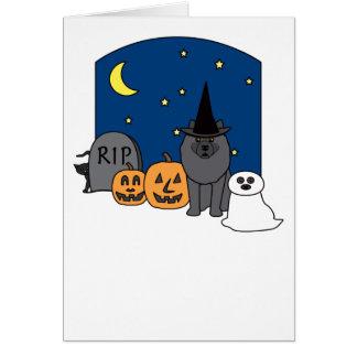 Keeshond Halloween Greeting Card