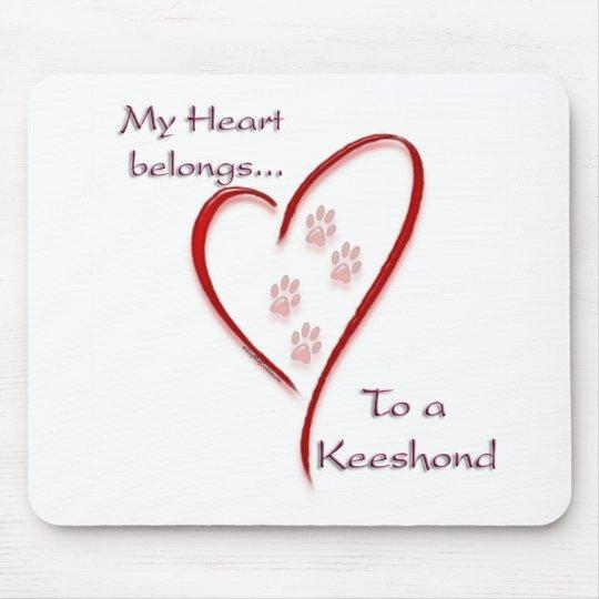 Keeshond Heart Belongs Mouse Pad