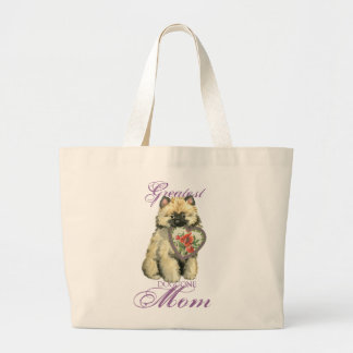 Keeshond Heart Mom Large Tote Bag