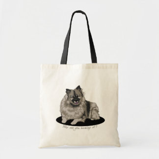 Keeshond Illustration Canvas Bags